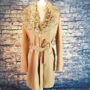Guess Faux Fur Collar Coat